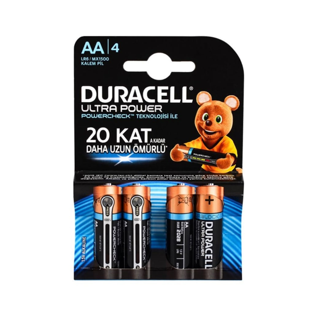 Duracell Ultra Power AA Kalem Pil 4 lü